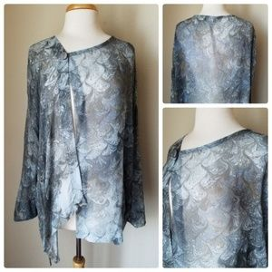 Top Printed Sheer Gray Hand Dyed silk